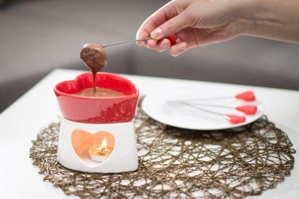 Hjärtformad Chokladfondue
