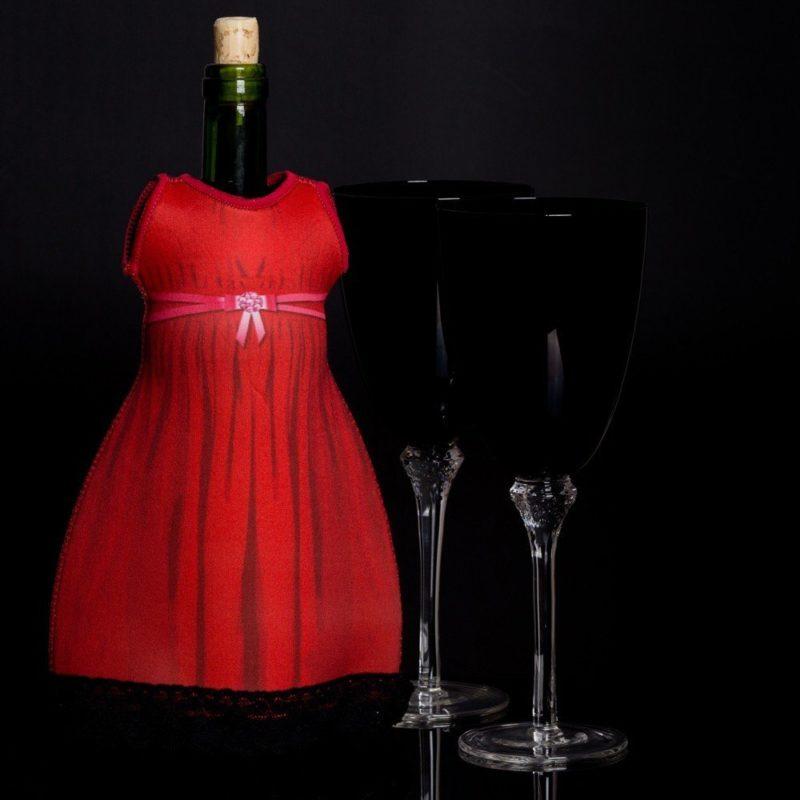 Klänning Till Vinflaska Röd