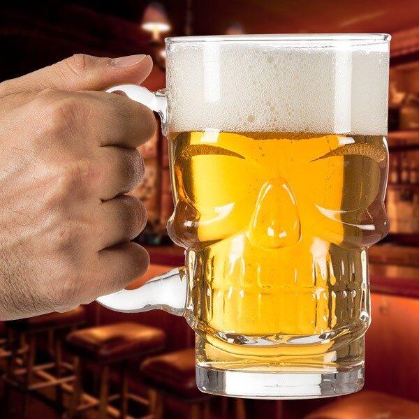 Dödskalle Ölglas