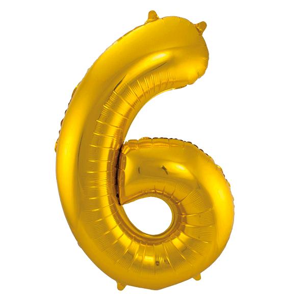 Sifferballong Guld 6