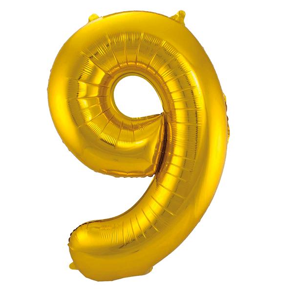 Sifferballong Guld 9