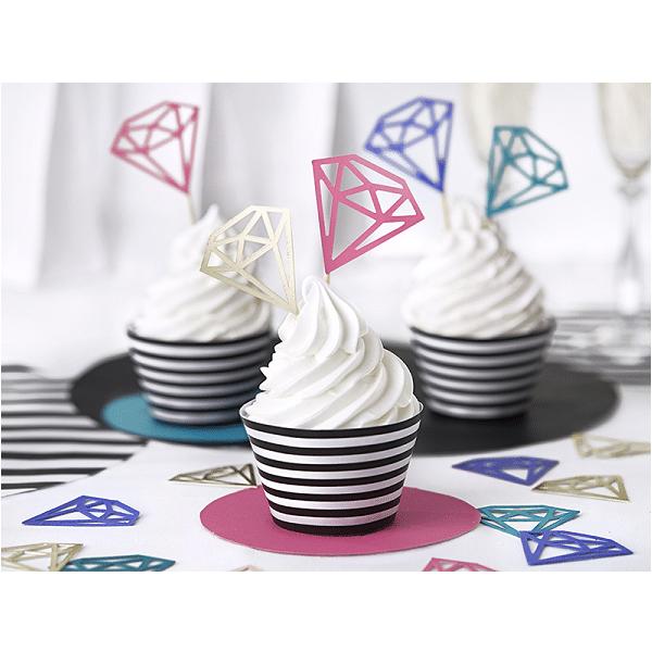 Cupcake Wrappers Svart/Vit Randig