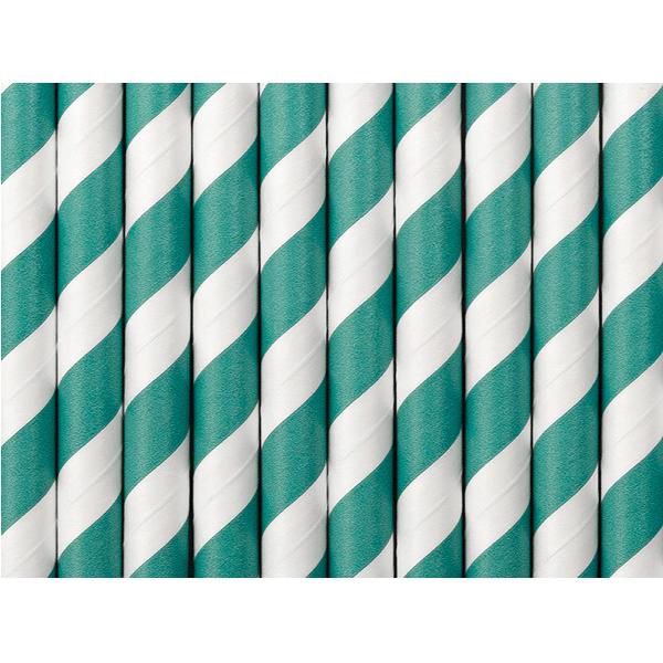 Papperssugrör Grön/vit Randig