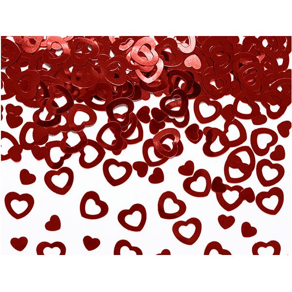 Konfetti Hjärta Röd Metallic